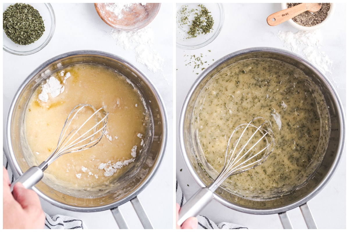 Add garlic, dried parsley, salt, and black pepper to the saucepan and whisk with the butter and flour