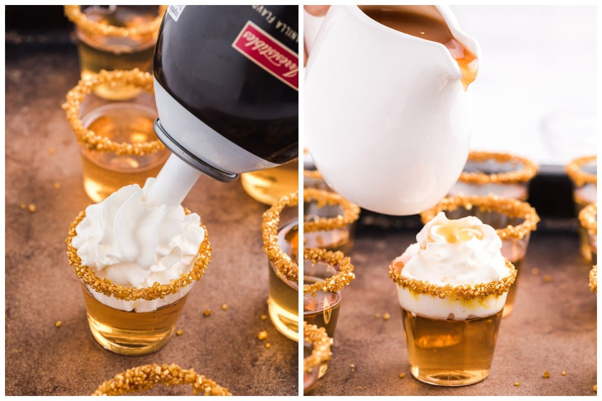 Squirt the whipped topping onto each jello shot, drizzle with the squirt caramel topping