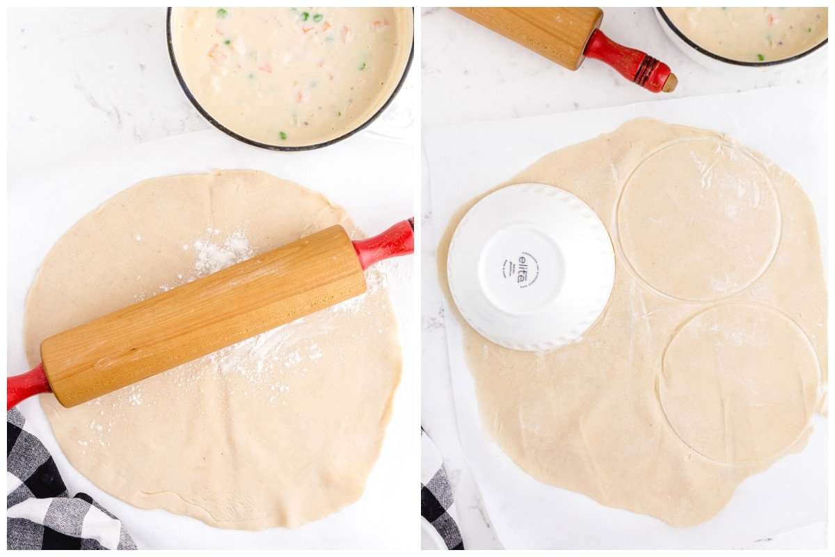 Unroll one pie crust and Cut two circles from the dough