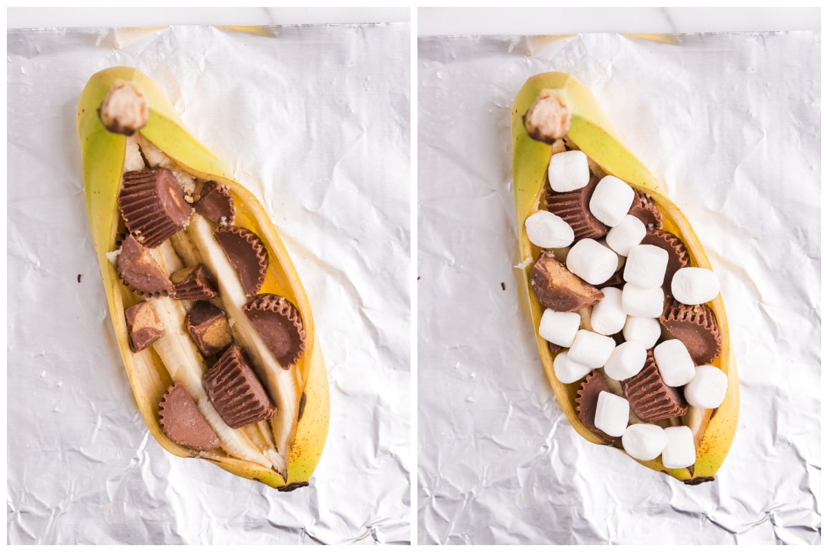 Sprinkle Reese's minis and mini marshmallow into the middle of the banana
