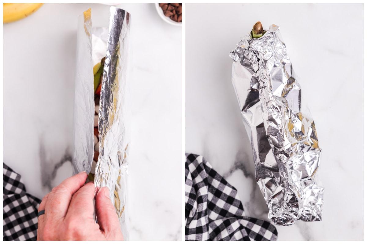 wrap the banana in foil