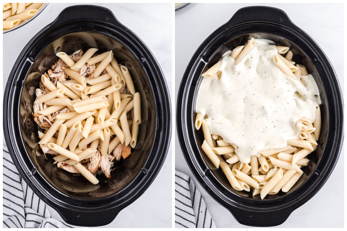 Add cooked and drained pasta to the shredded chicken. pour the alfredo sauce into the pasta