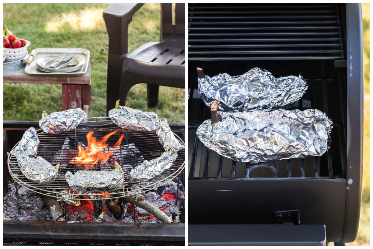 Place filled and wrapped banana packets on the grill