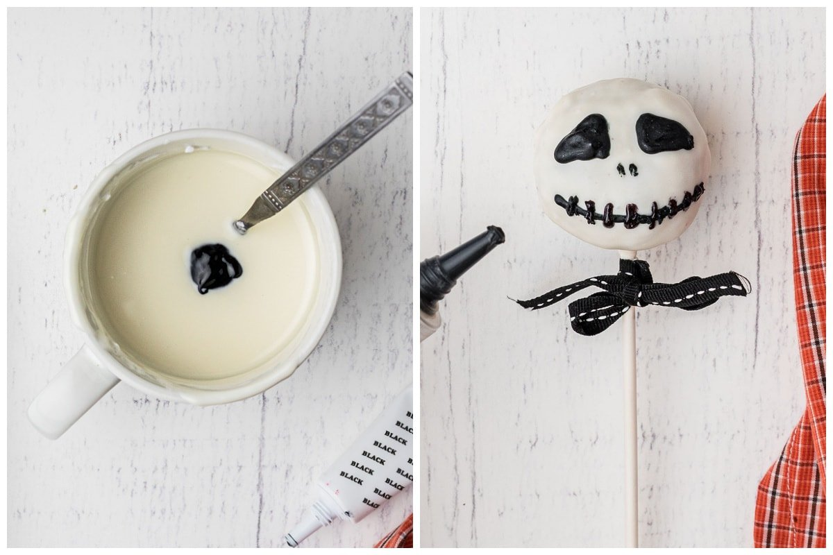draw skull face on the cake