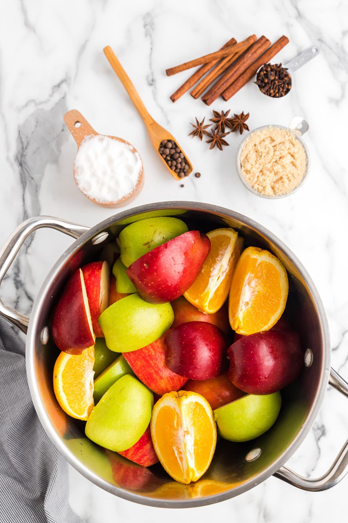 add all fruits into the pot