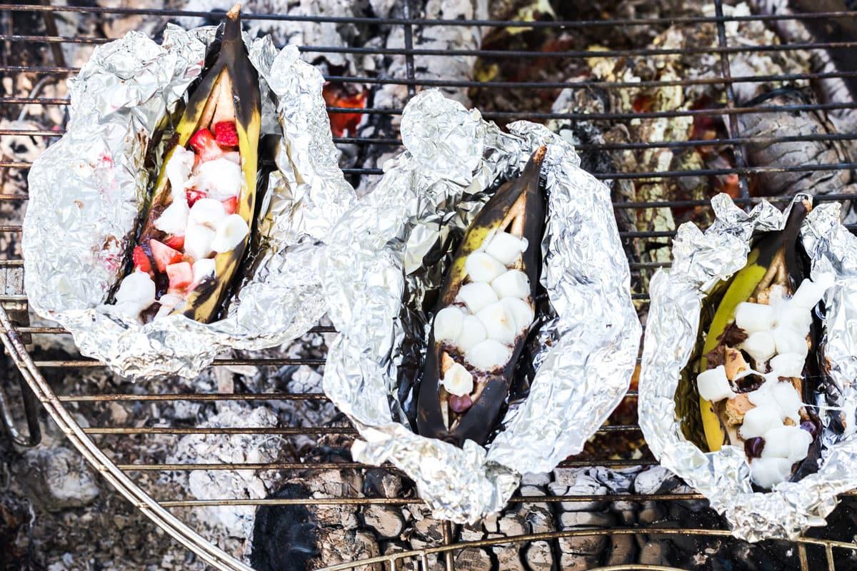 cooked campfire banana boats