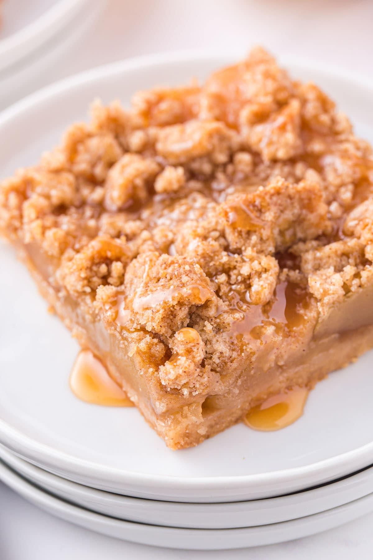 caramel apple bars on a plate