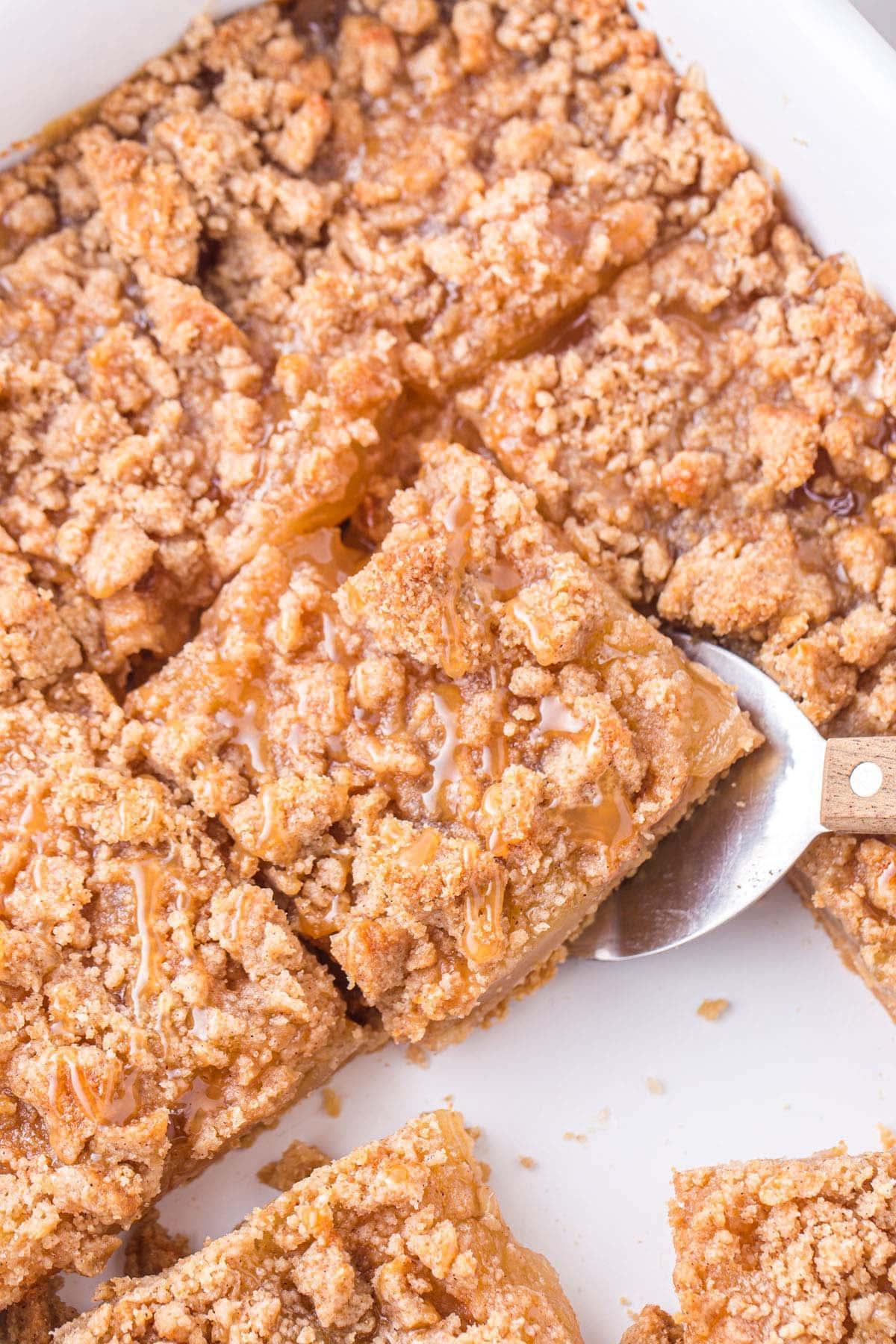 caramel apple bars cut into squares