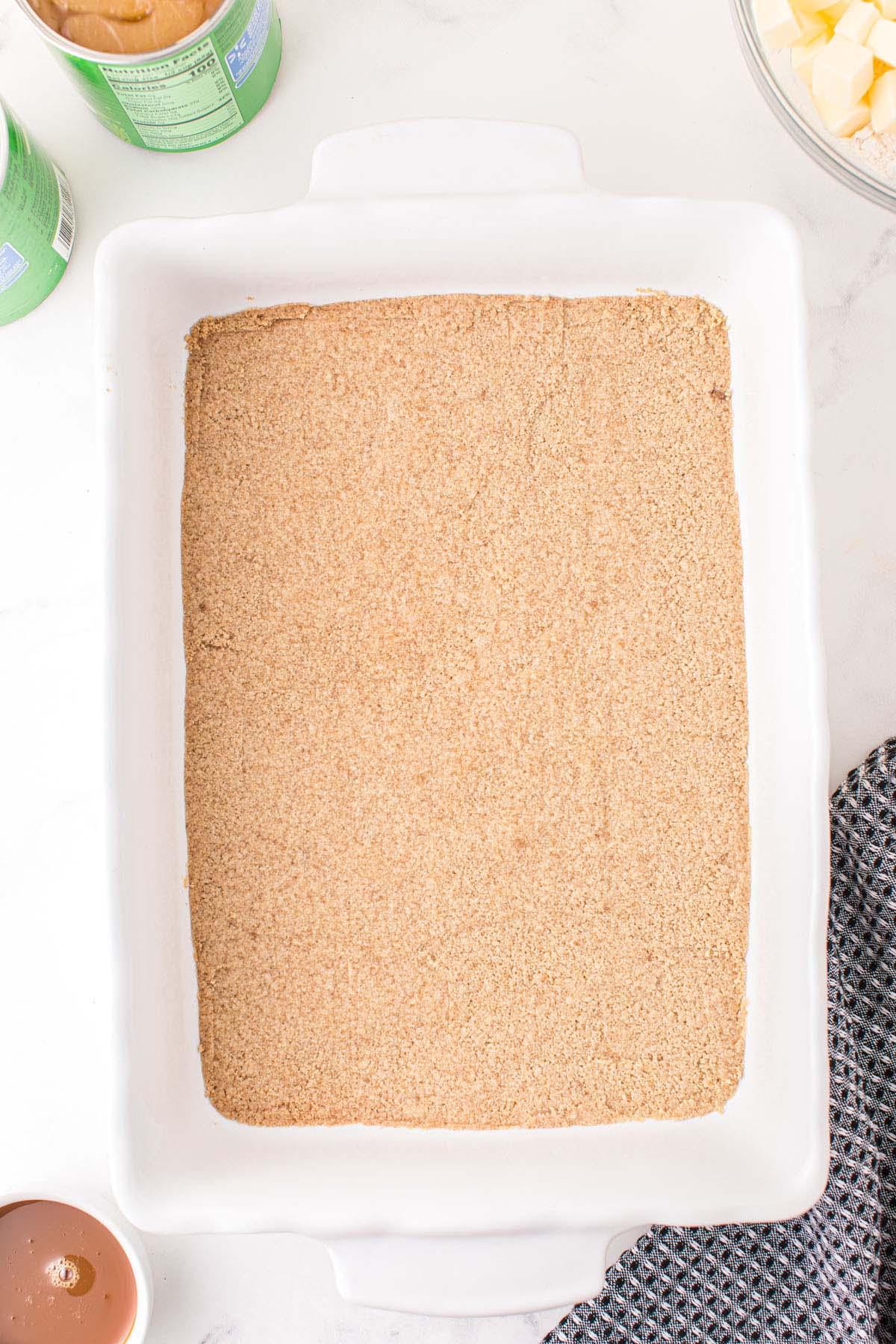 press into baking pan and bake