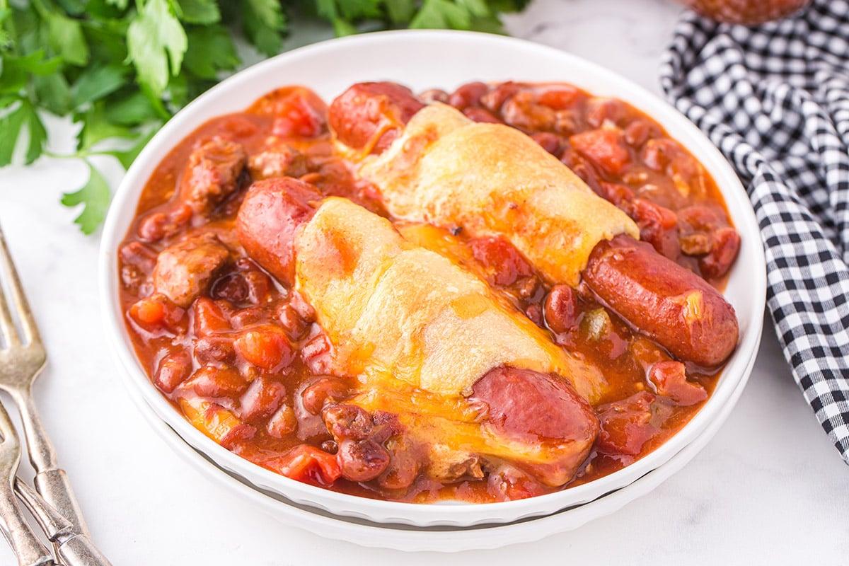chili dog casserole in a bowl