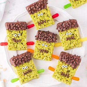 Frankenstein Rice Krispies Treats feature image