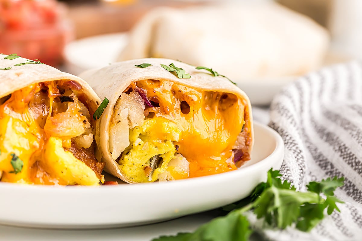 breakfast buritos on a plate