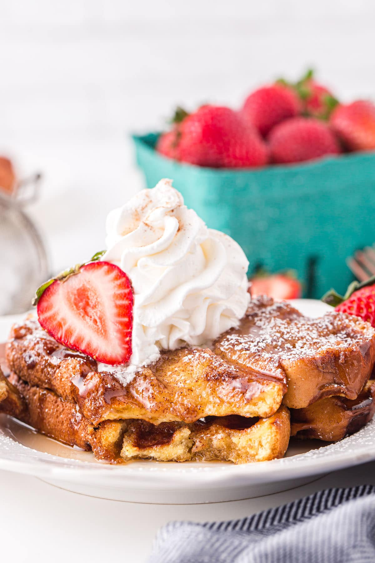 french toast waffles with ice cream on top