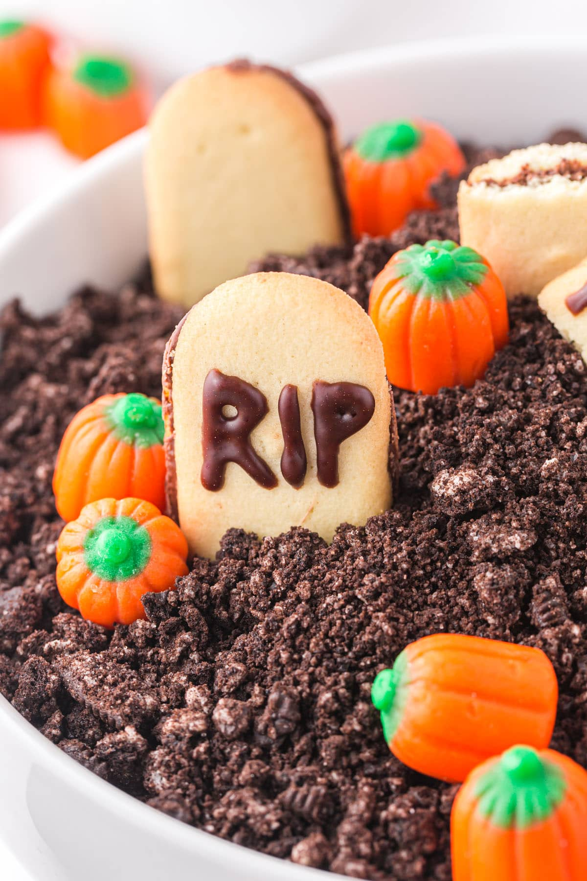 Halloween Graveyard Dip zoomed in showing only the RIP biscuit