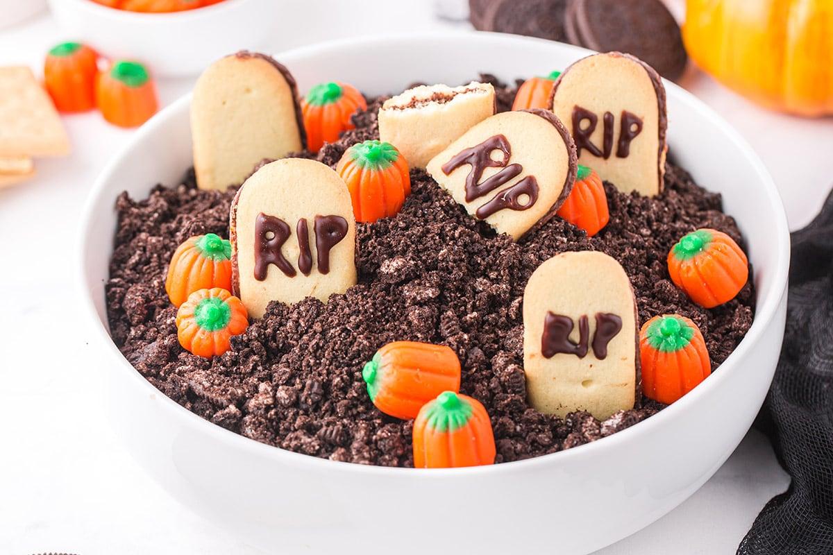 halloween graveyard dip in a bowl