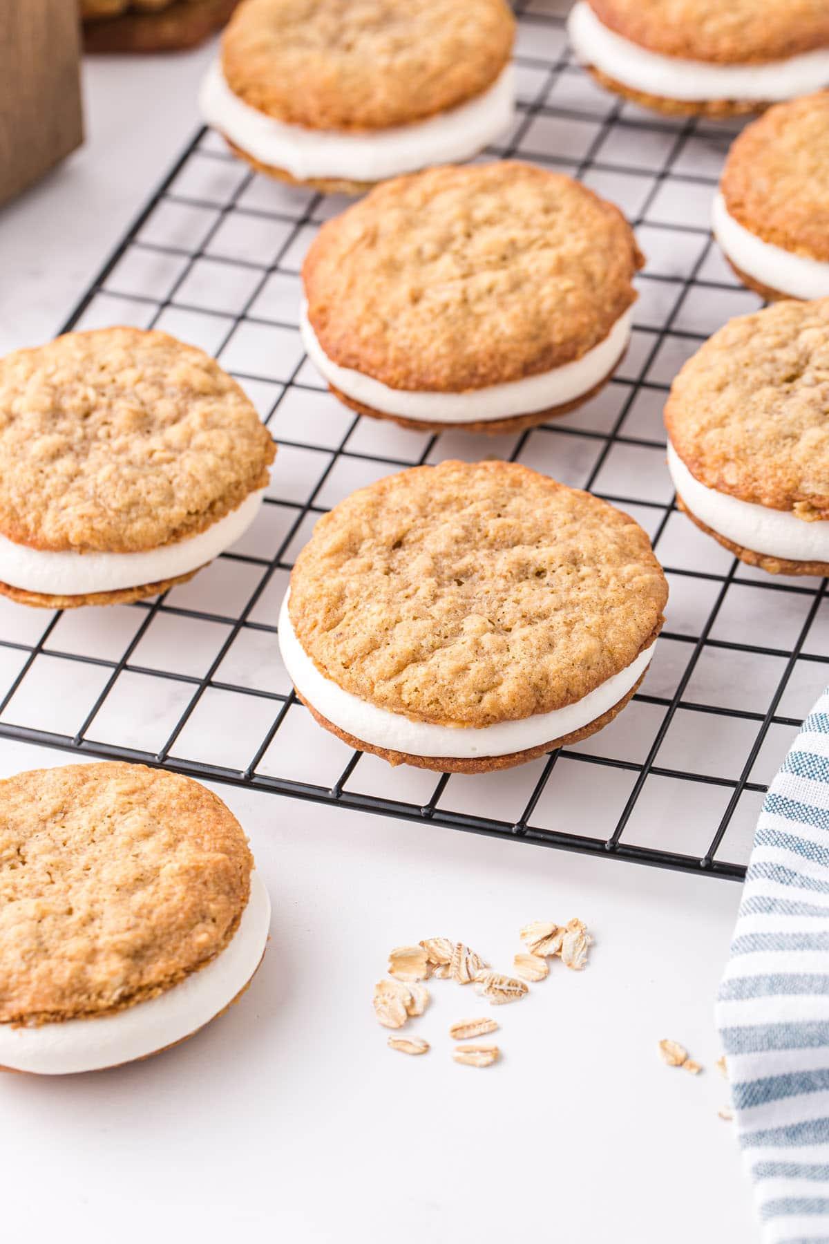 oatmeal cream pie in drying rack