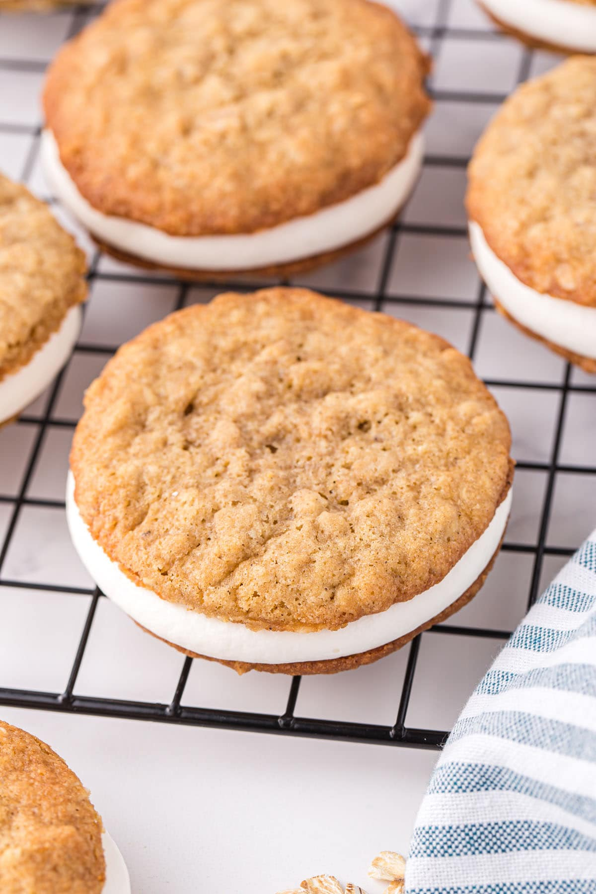 oatmeal cream pie in cooling rack