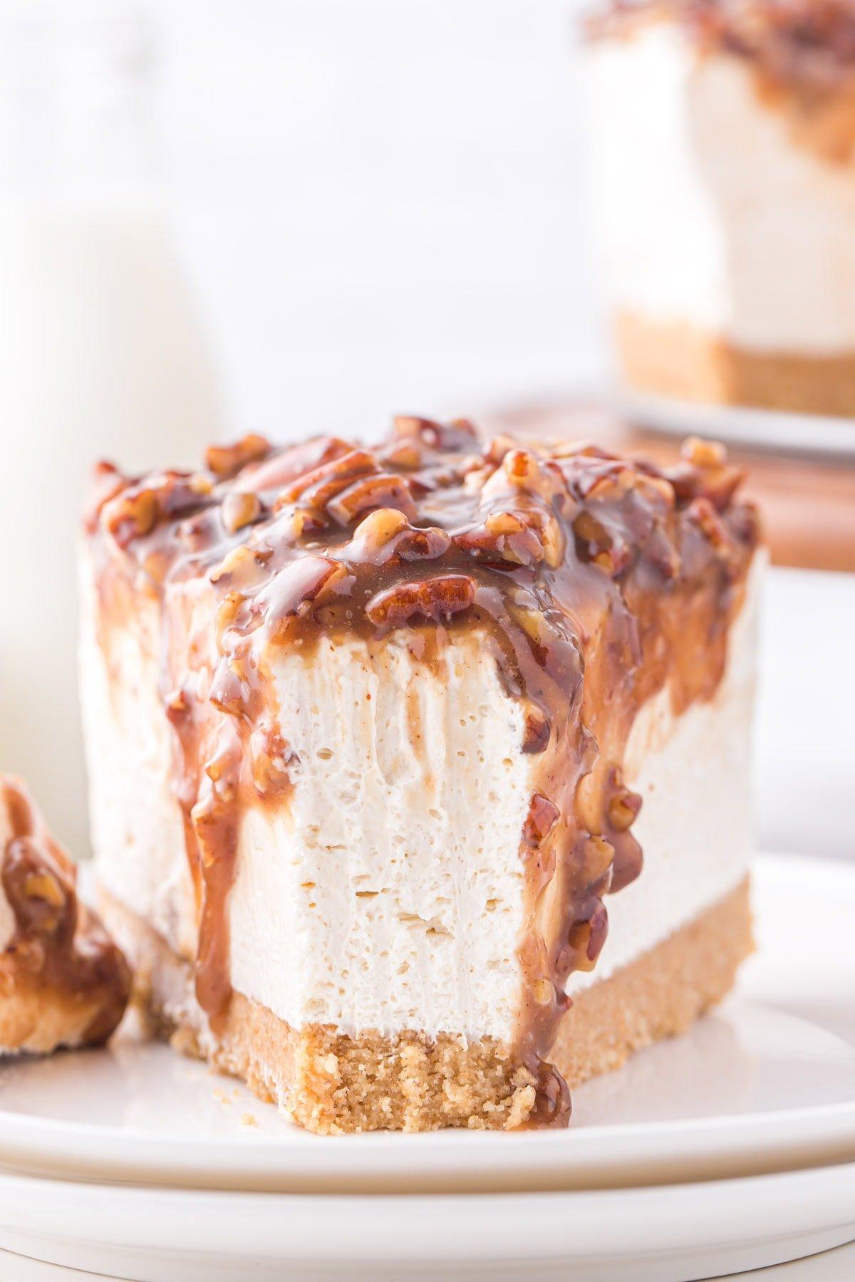 a slice of pecan pie cheesecake