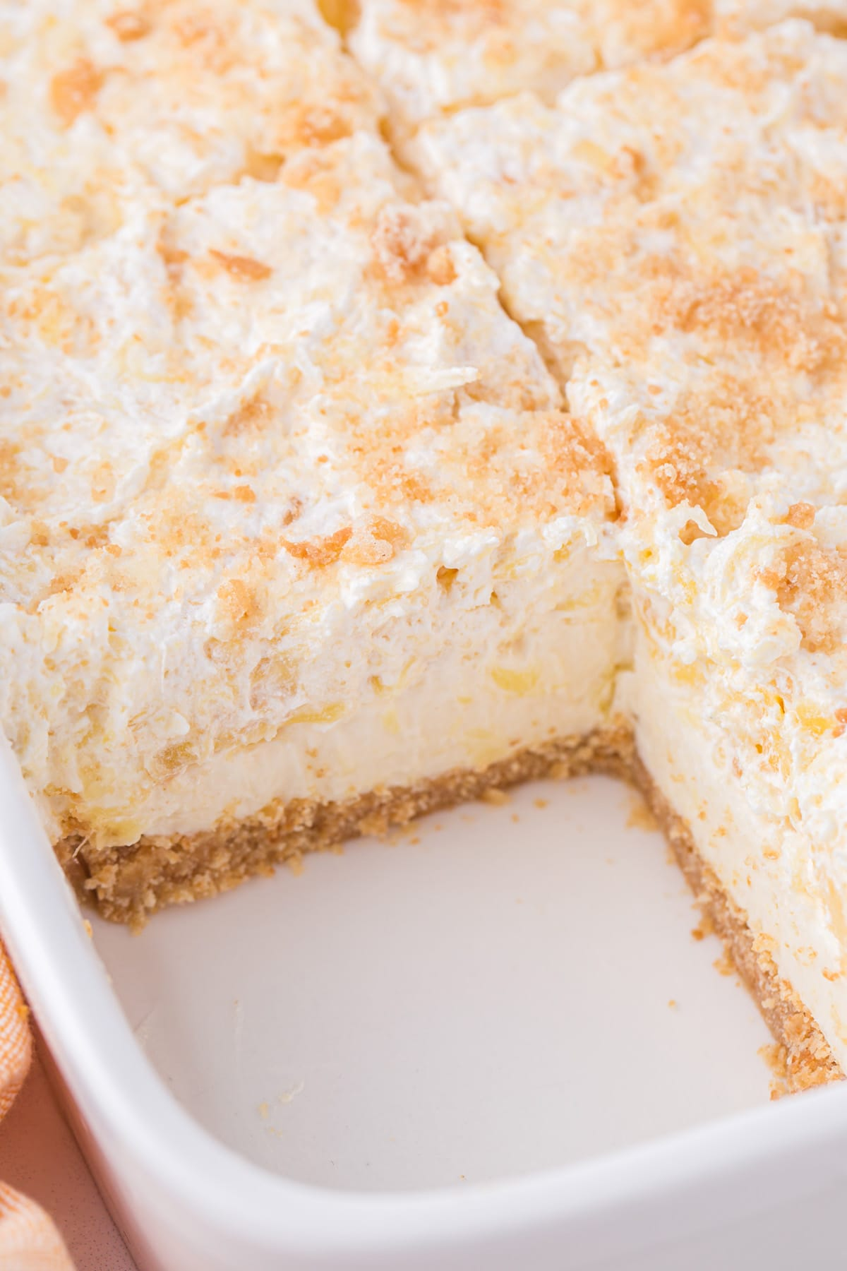 pineapple delight in baking pan cut in squares