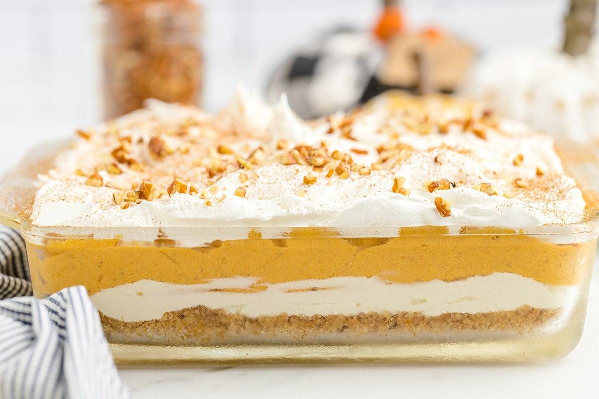 pumpkin delight in baking dish