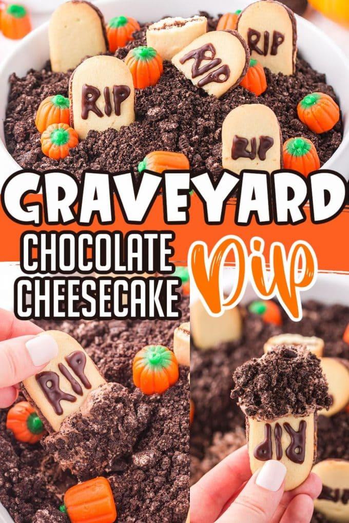 Halloween Graveyard Chocolate Cheesecake Dip pinterest