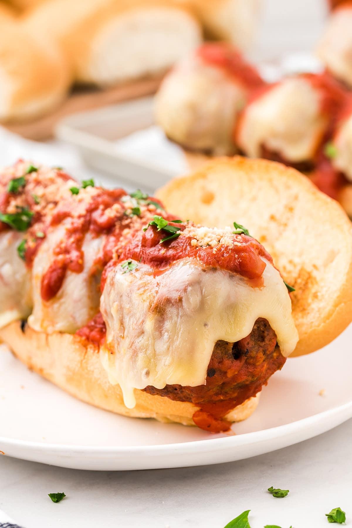 meatball subs on a plate