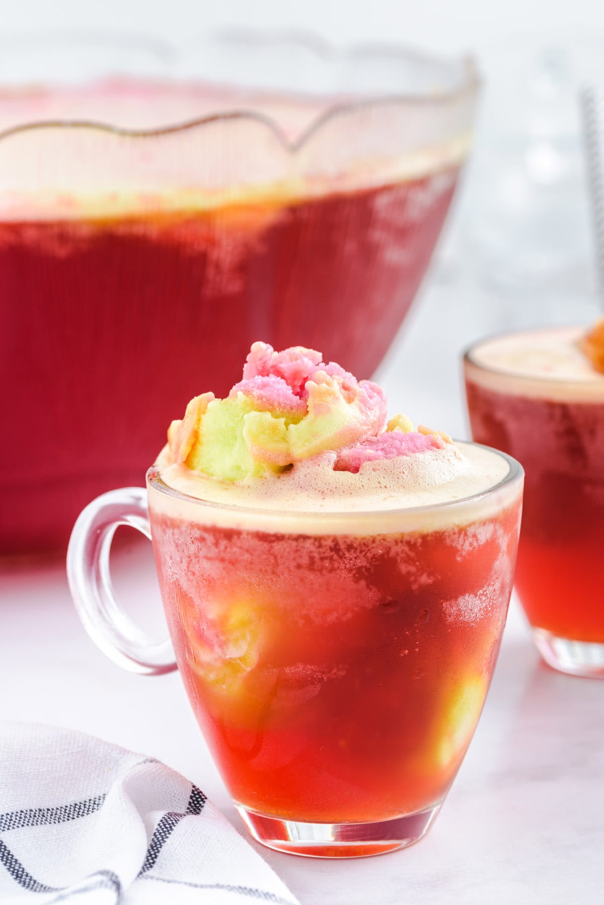 rainbow sherbet punch in a glass