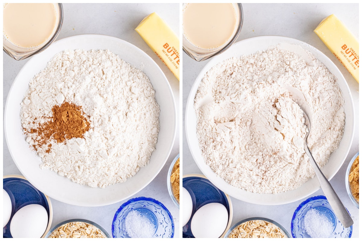 Mix the flour, pumpkin spice, and salt together until combined