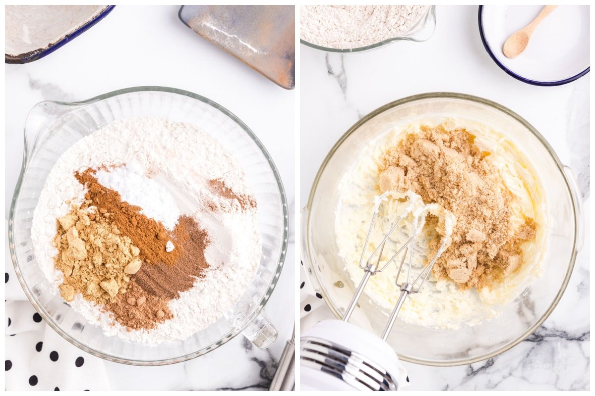 Combine flour, ground ginger, ground cinnamon, baking soda, ground nutmeg and ground allspice and set aside. Cream the butter and sugar in another bowl