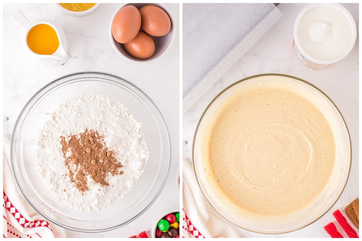 Whisk together the cake mix, nutmeg, orange juice, eggs, and butter