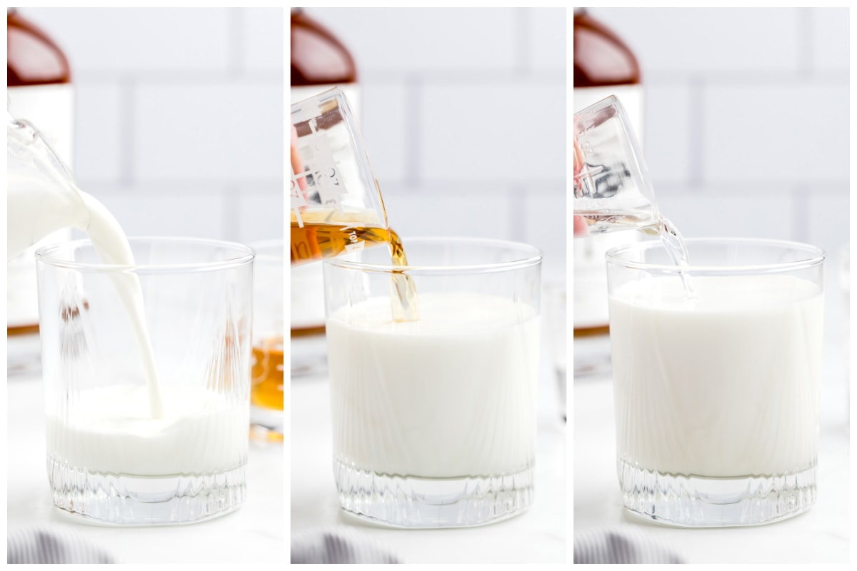 Pour milk, whiskey, and vodka into a large mug