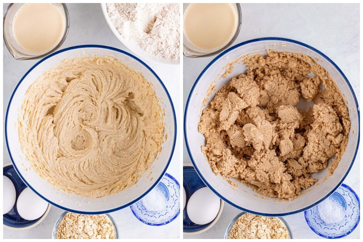 Cream the butter and brown sugar together until smooth. Add the dry ingredients into the bowl with the butter mixture and mix until just combined