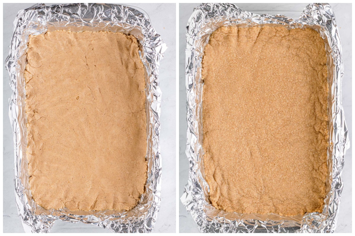 Press crust into the bottom of the baking dish