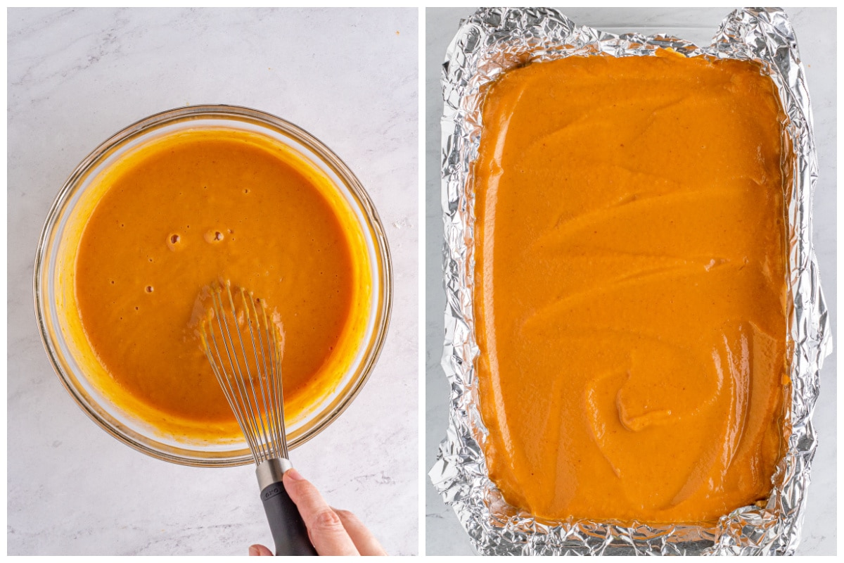 Whisk together the pumpkin pie mix, eggs, and evaporated milk until smooth. Pour filling over the crust