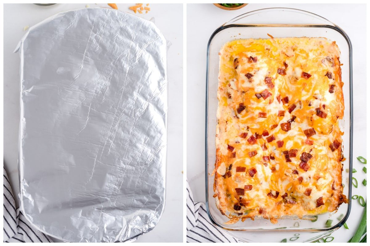 Cover dish with foil and bake