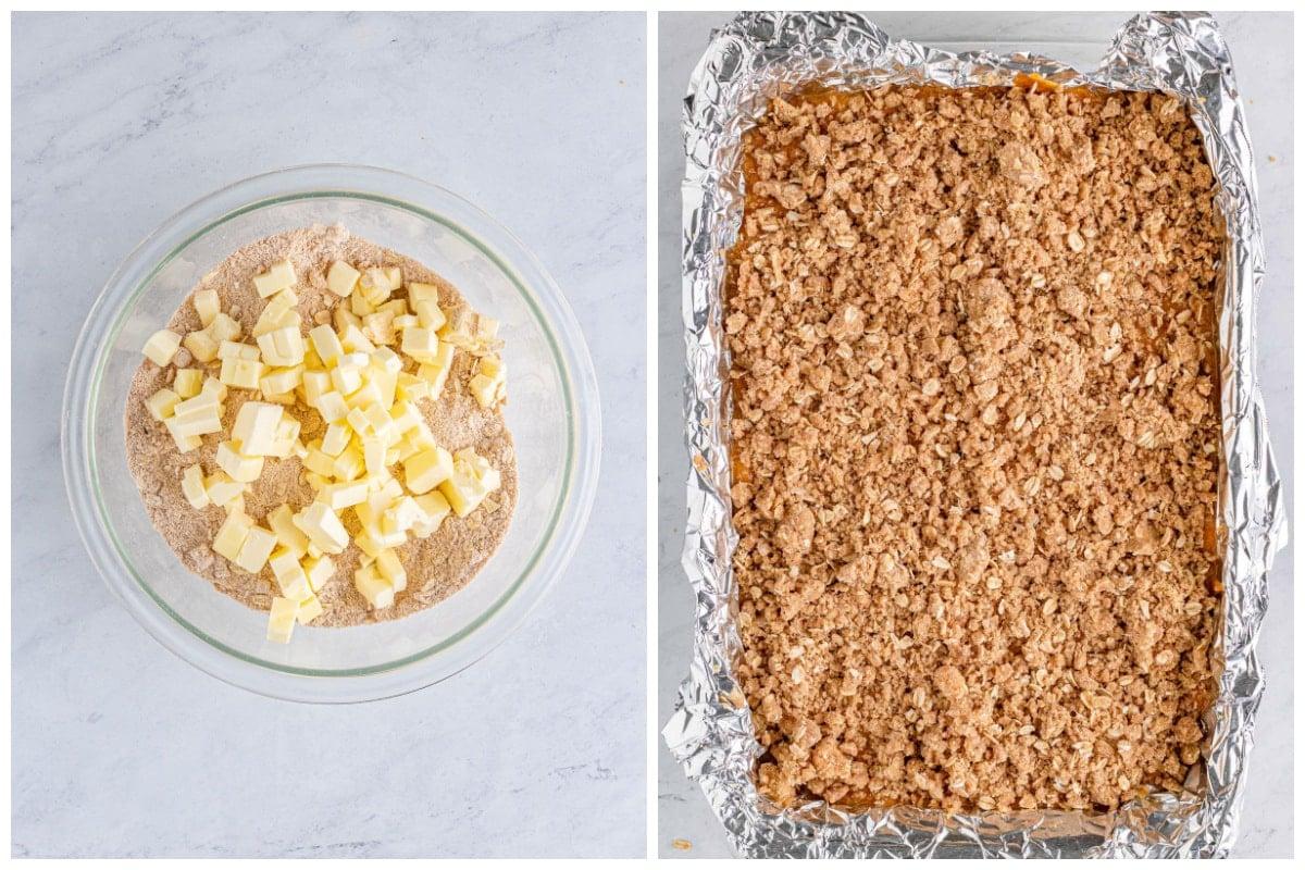 Mix brown sugar, flour, oats, pumpkin spice, and salt together.Sprinkle the streusel over the pumpkin filling