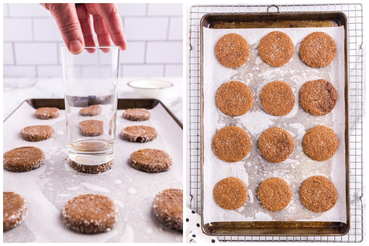 Using the flat bottom of a round glass, gently press down on the cookie dough balls.