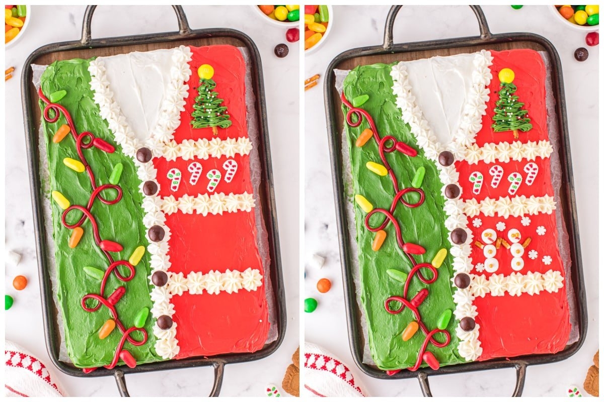 decorate with candy canes and snow man