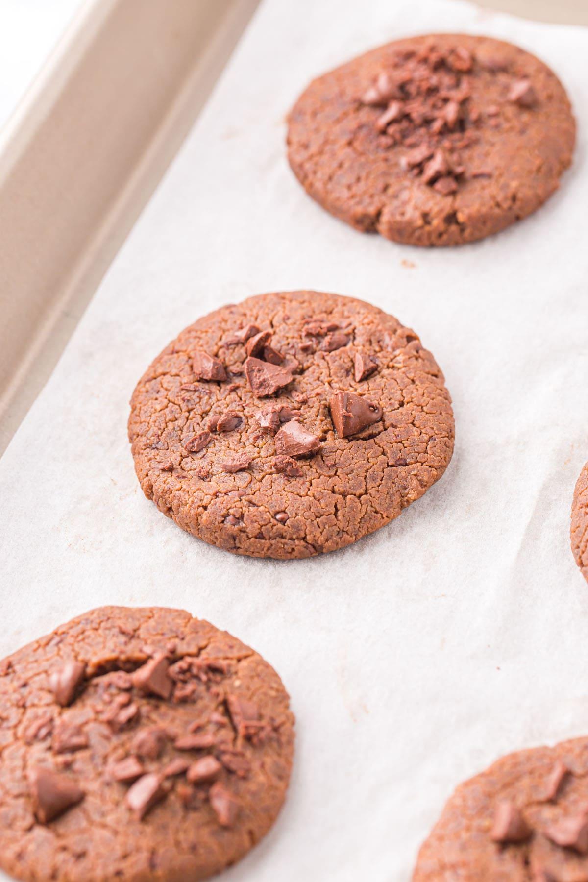 chickpea cookies in baking sheet