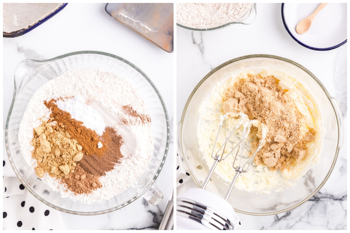Combine flour, ground ginger, ground cinnamon, baking soda, ground nutmeg and ground allspice and set aside. Cream the butter and brown suger