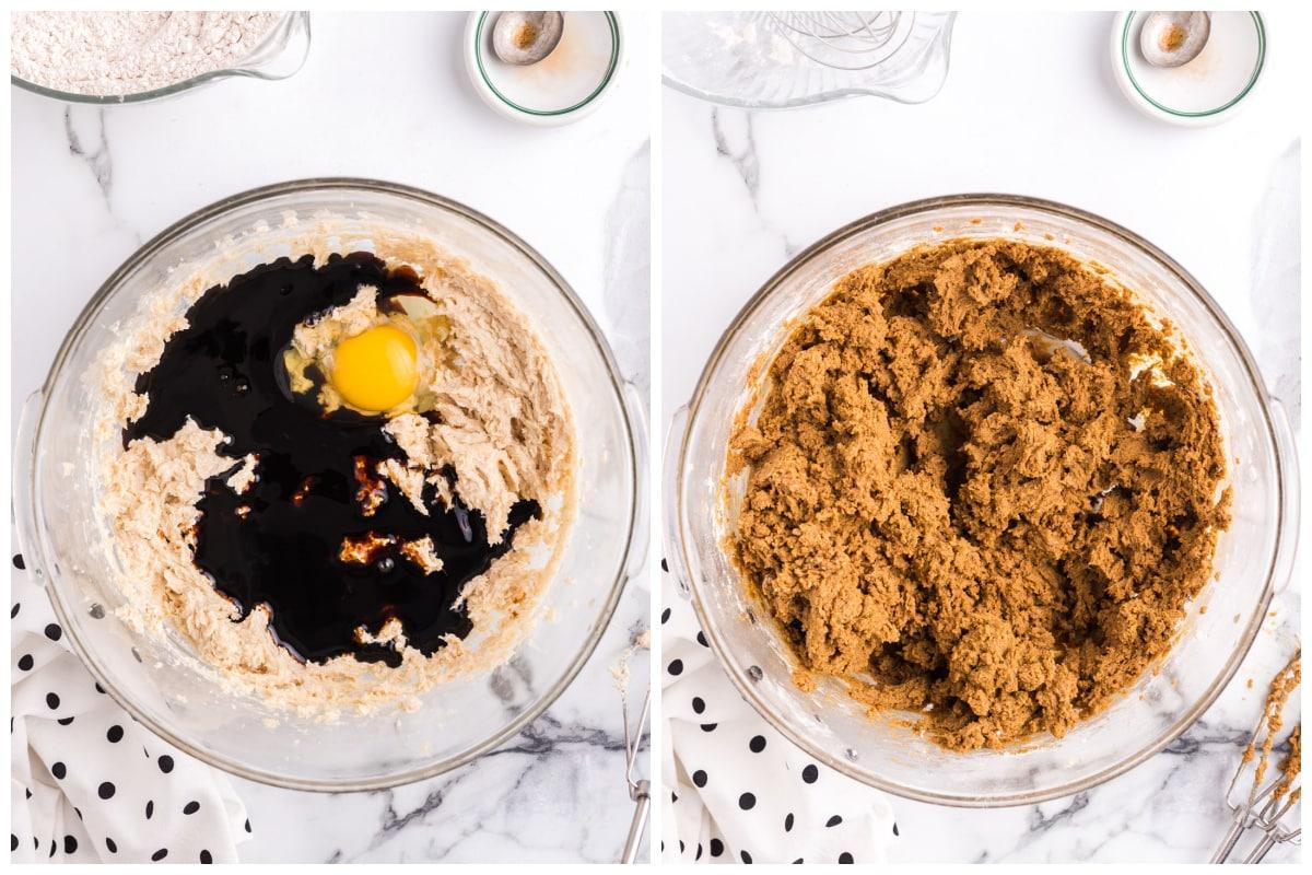 Mix in molasses, egg, vanilla and flour