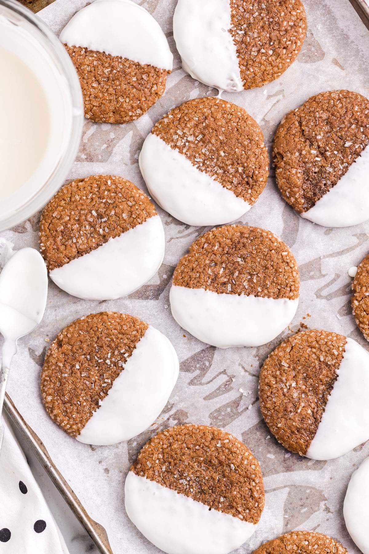 ginger cookies dipped white chocolate