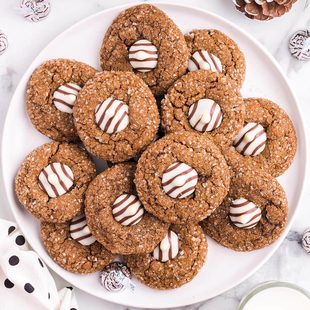 gingerbread kiss cookies featured image