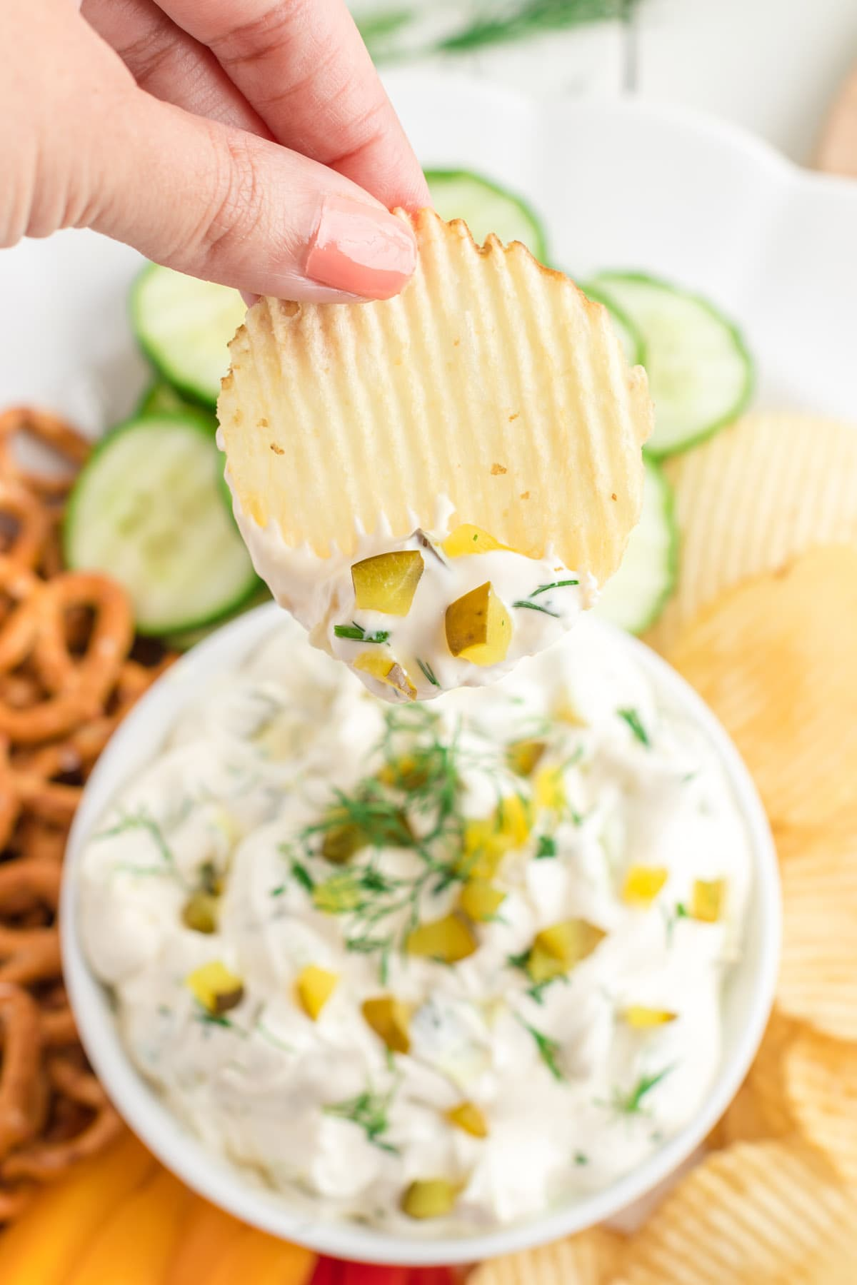 chips dipped into the dip