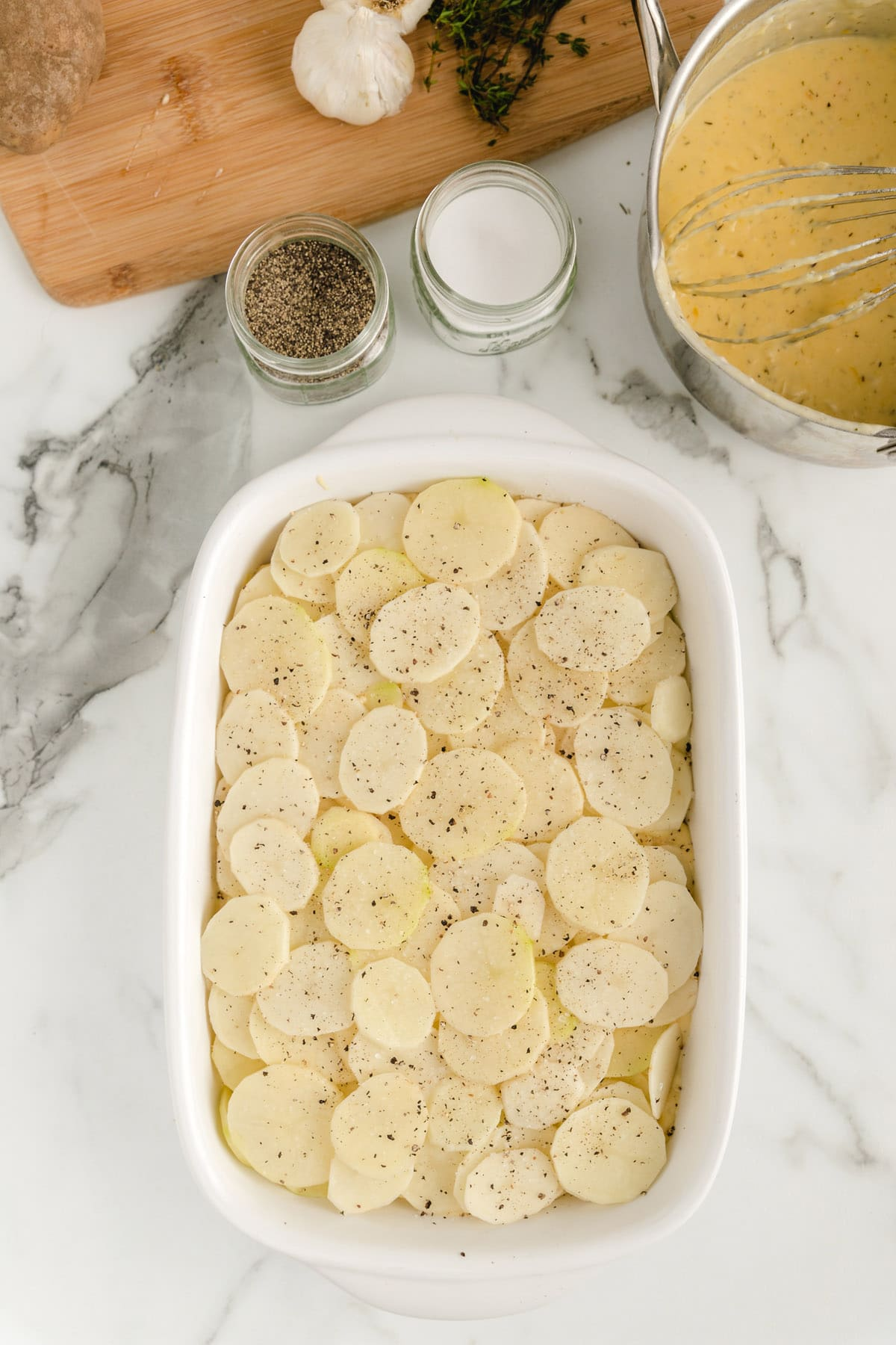 add second layer of potatoes