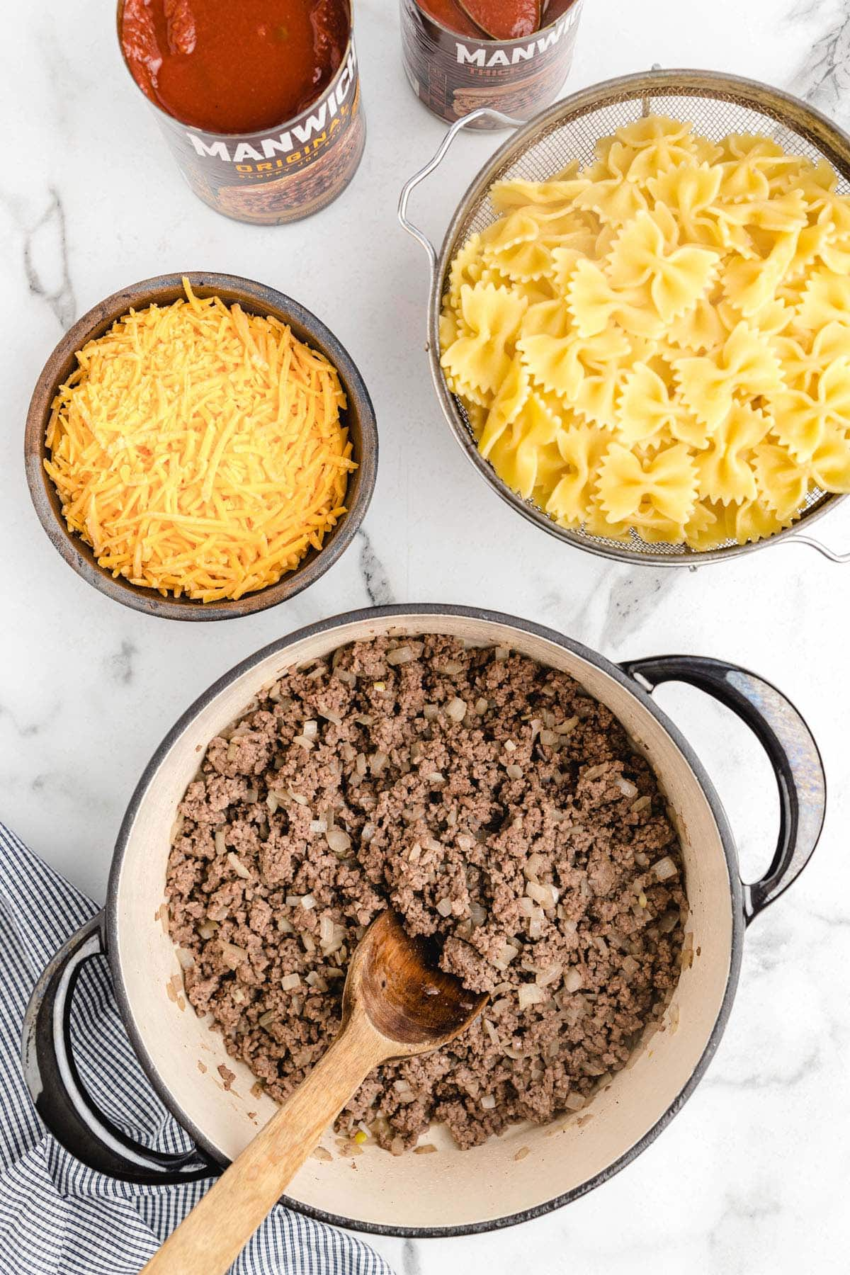 brown ground beef in a pot