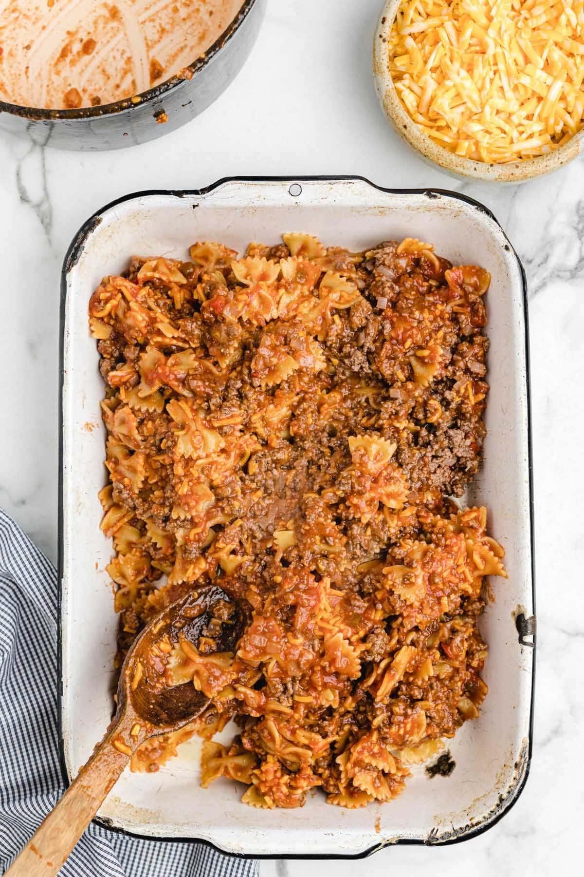 add casserole mix into baking dish