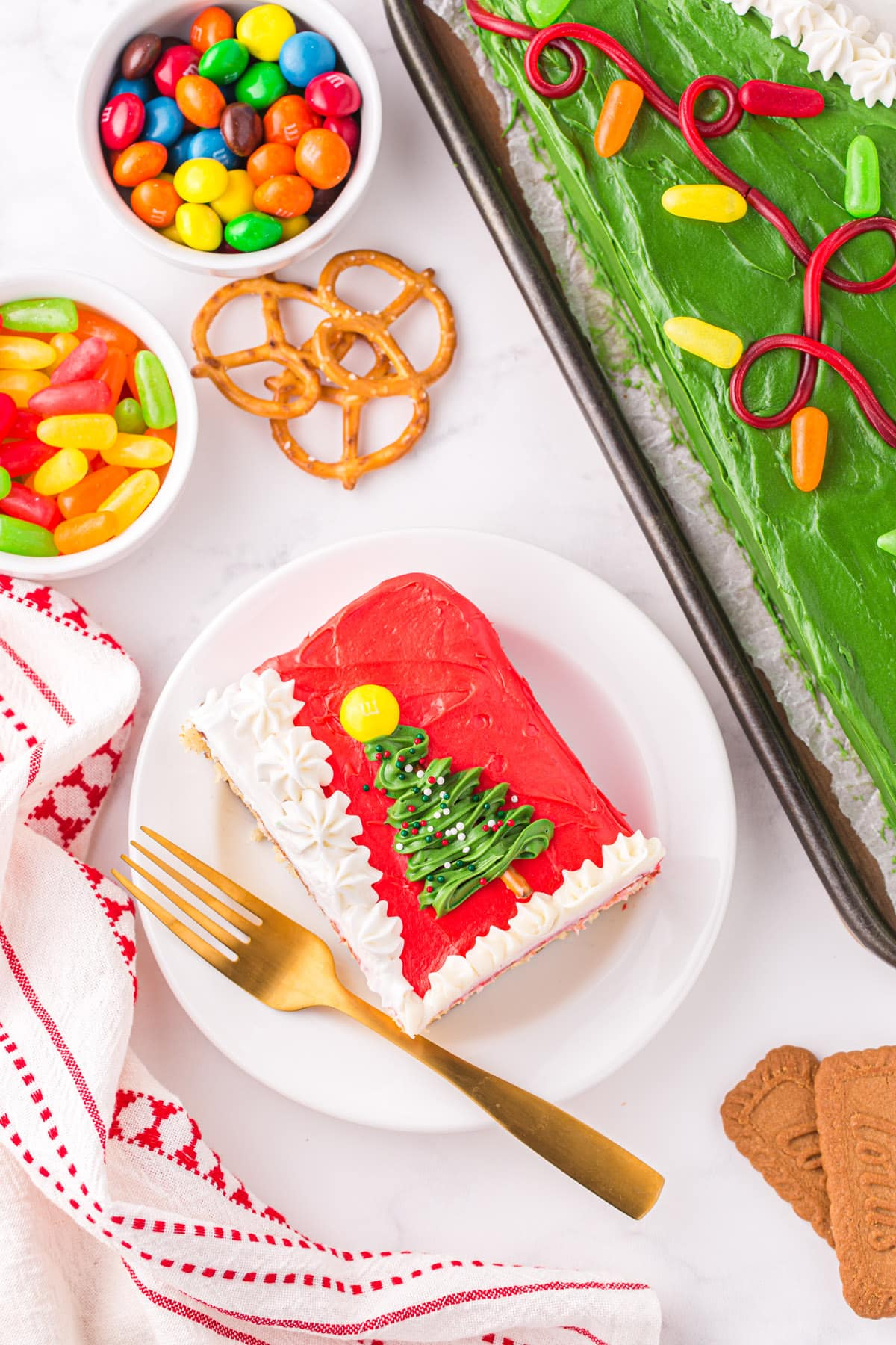 a piece of ugly-sweater-cake on a plate