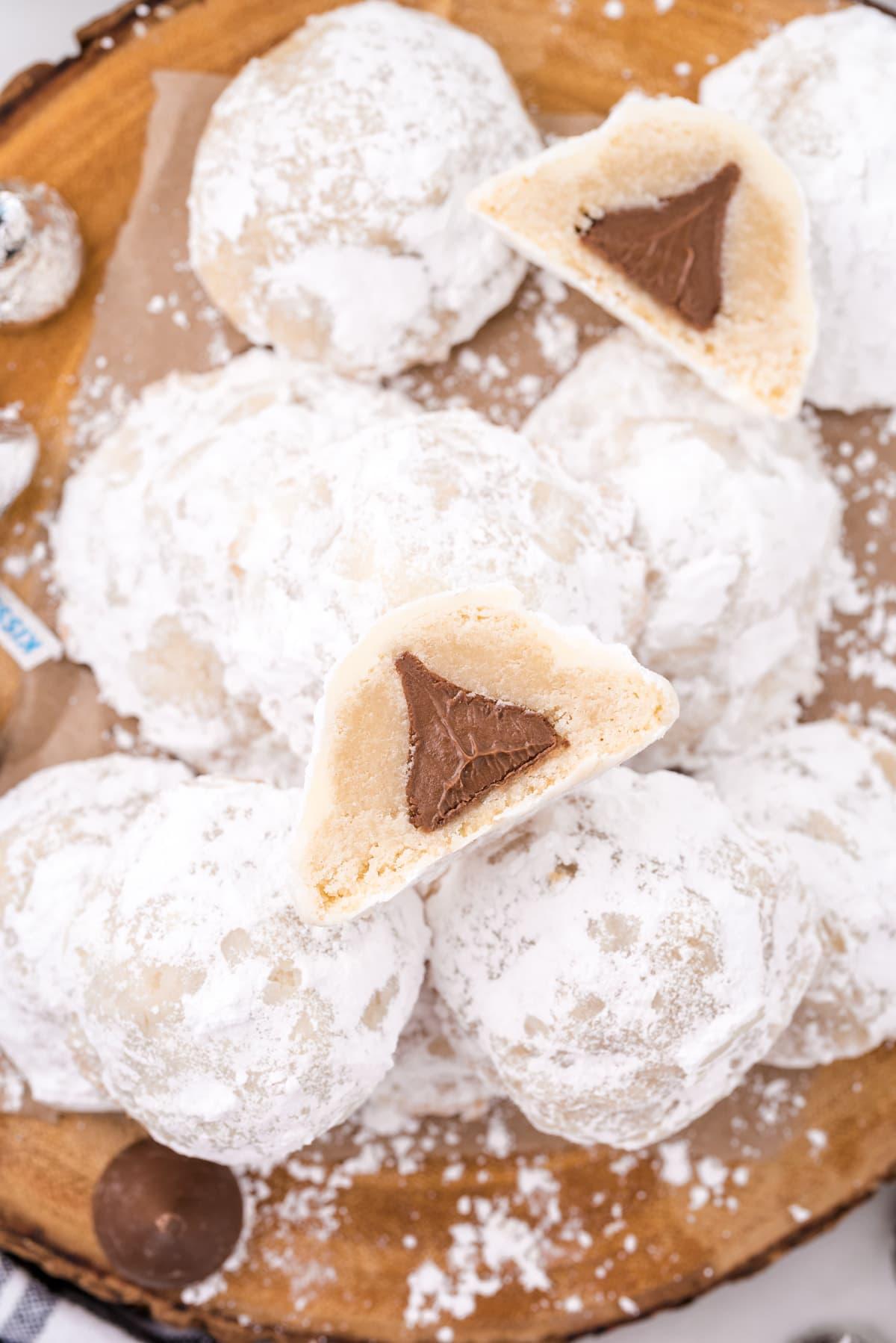 secret kiss cookies cut in half