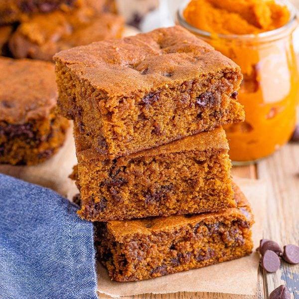 pumpkin blondies featured image